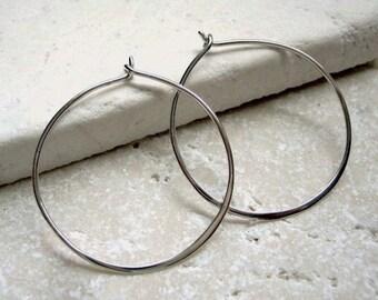 Hoop Earrings Sterling Silver Infinity Earwires Medium 30mm - Pair