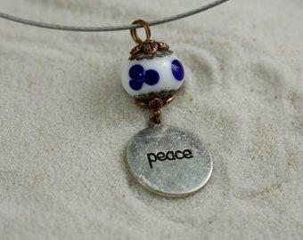 'Peace' glass & Metal pendant
