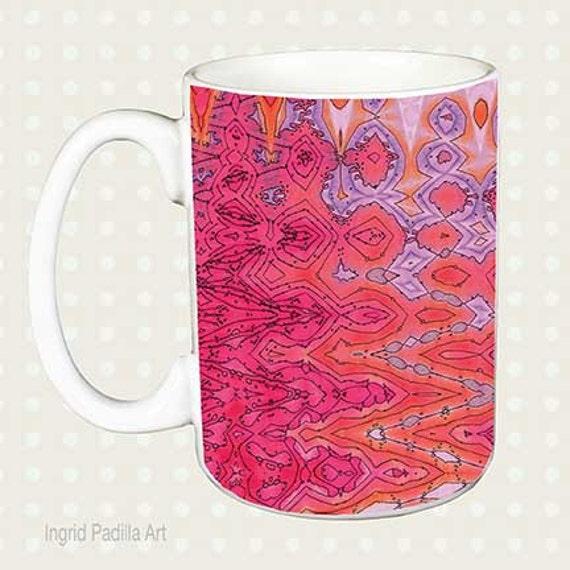 Pink pattern Mug, Mugs with Art, Unique mugs, Coffee Mug, Funky, coffee cup, Abstract, Art, Ingrid Padilla