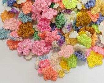 CROCHET SALE 250 Mixed Assortment Colors Flowers Scrapbooks Wedding Sewing Card Topper Girls baby Shower
