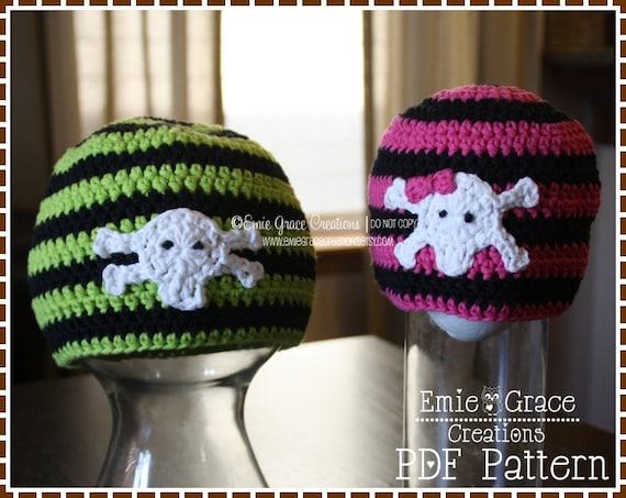 Crochet Skull And Crossbone Hat Pattern Stripe Beanie Axle