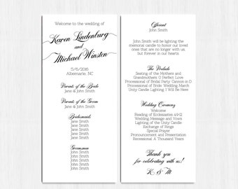 simple wedding program black and white double sided program printable file printable programs backside programs calligraphy program