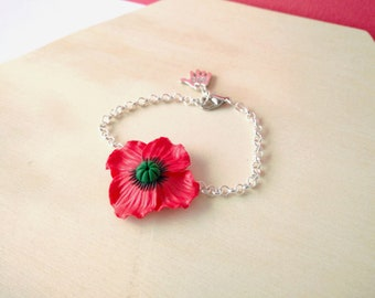 POPPIES - Adjustable bracelet with poppy in polymer clay fimo / handmade / red flower bracelet