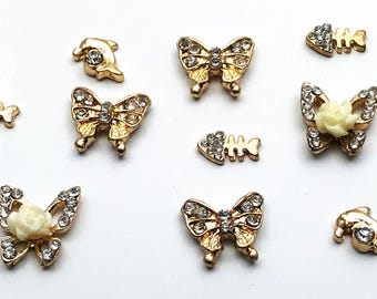 10 PC Gold Tone Animal Butterfly Assortment Misc  Alloy DIY Jewelry Making Supplies Rhinestone GT2518