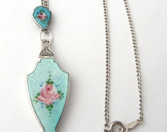 Antique Guilloche Enamel Locket Sterling Silver Photo Locket with Slide Sterling Chain Turquoise Emamel Pink Roses from TreasuresOfGrace