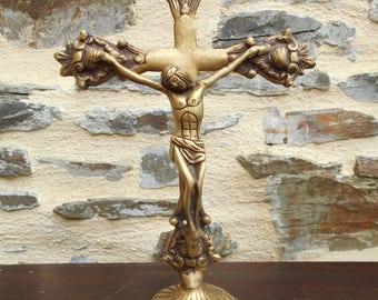 Antique Bronze Crucifix - Alter Cross - standing crucifix