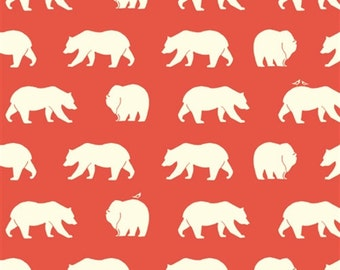 Bear Fabric - Birch Organic Cotton Fabric - Bear Camp Poplin - Bear Hike Coral