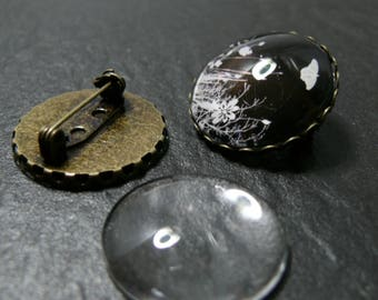 20 pieces = 10 blank brooch S wave BR 25mm and 10 cabochons