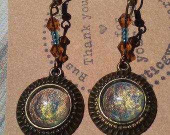 Hand painted earrings, abstract earrings, abstract jewelry, painted earrings, boho earrings, womens earrings, boho jewelry, amber earrings