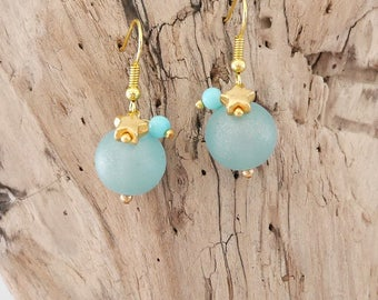 Aquamarine and gold with charms star earrings (BO152)