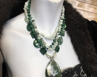 Agate, Jade, Malachite Multi-Strand Stone Necklace