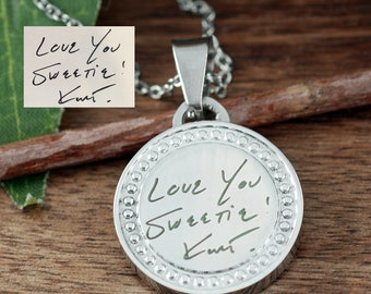 Actual Signature Necklace, Actual Handwriting Necklace, Custom Handwriting Jewelry, Engraved Necklace, Memorial Handwritten Necklace