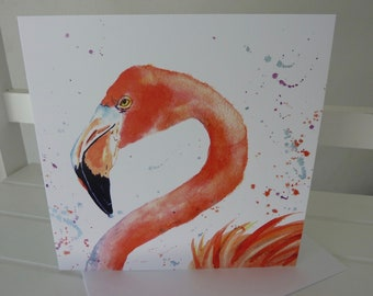 NEW! Larger Card  - Flamingo - Greetings Card -