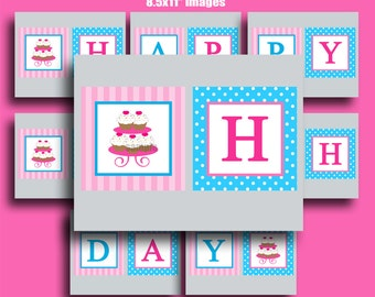 Cupcake Happy Birthday Banner Printable - Chef Baking Birthday Bunting - Sweet Little Bake Shoppe