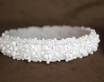 White Satin Headpiece