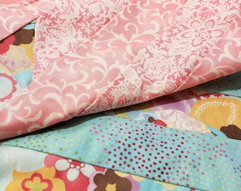Floral quilt with Coral minky