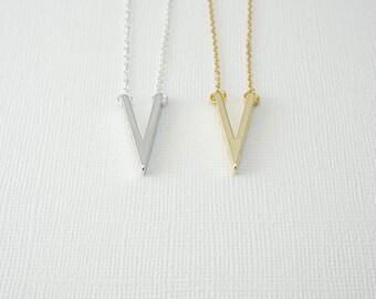 Chevron Necklace, Simple Necklace, Delicate Necklace, Geometric Necklace, Bridesmaids Necklace, Layering Necklace