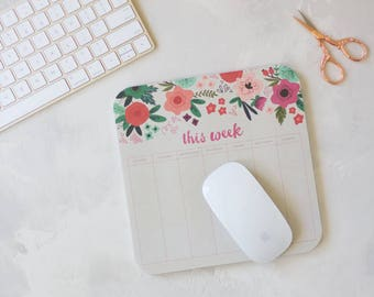 """Pink Floral on Gray Weekly Mouse Pad Notepad - 40 pages - 8"""" x 8"""""""