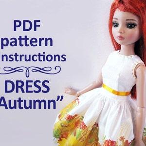 PDF pattern Dress Autumn for MSD 16 inches doll Ellowyne Wilde, MiniFee
