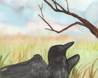 Original Art - The Crow Chick - Watercolor Crow Painting -The Badgers Forest Tarot