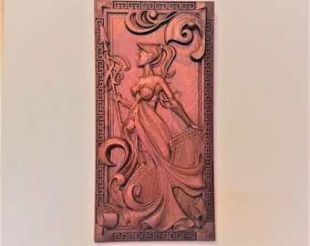 Wooden Wall decor mahogany Woman warrior, Carved wood