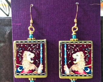 Vintage Wooden Tile Earrings - Medieval Lion Crest (Item # TR06)