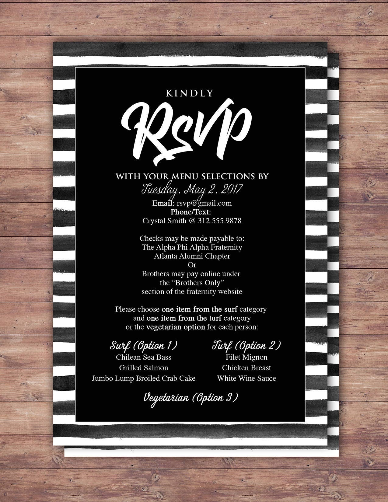 RSVP card, elegant, Black and white party, Prom, Anniversary Party ...