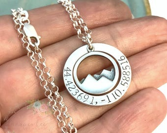Sterling Silver Coordinates Washer ~The  Mountains are Calling Necklace ~ Personalized Jewelry Custom Latitude Longitude ~ Hiking ~ Hiker