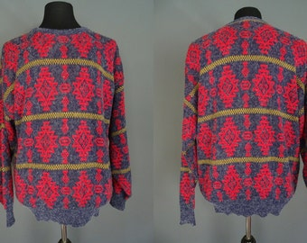 80's Sweater.......The Men's Store at Sears Grey & Red Southwest Sweater