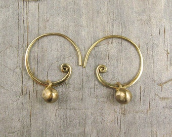 Spiral Earrings - Spiral Hoop - Gold Hoops - Ball Earring - Handcrafted Earring - Bronze - Teen Jewelry - Golden Sun Nuggets  (EB-NGS-SPL)
