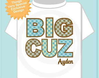Boy's Big Cuz Cousin Shirt Personalized Infant, Plaid Toddler or Youth Tee Shirt or Onesie Pregnancy Announcement (11062012a)