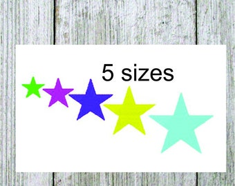 Embroidery design, mini star, 5 sizes, filled stitch machine embroidery star, star mini design, designs under 2 inches