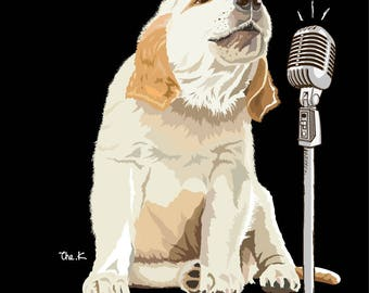 Dog singing HAND DRAWN design for printing