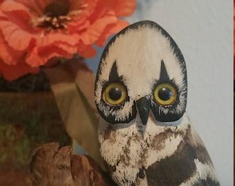 Donna Thompson Hand Carved Folk Art Owl Figurine