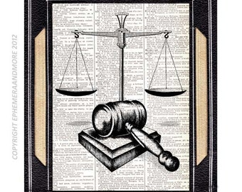 SCALE of JUSTICE and GAVEL art print wall decor law barrister office lawyer illustration vintage dictionary book page black white 5x7, 8x10