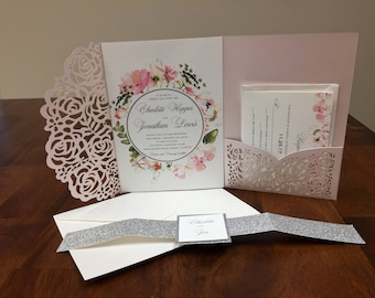 Laser cut floral wedding invitation set blush shimmer pocket kit silver glitter belly band blush wedding invitation kit wedding invitations