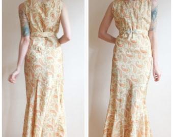 1930s Dress // Golden Hour Taffeta Gown // vintage 30s dress