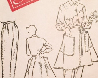 Vintage 50s Classic Button Front Shirt Wrap Apron with HUGE Pockets Trousers Pants Sewing Pattern 3228 B34