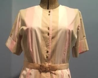 Vintage Ice Cream Dream Neopolitan Shirtwaist Dress, 1950s-60s