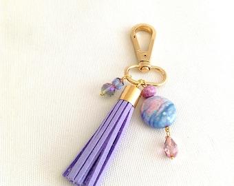 Beaded tassel bag charm, clip on purse charm, keychain tassel lavender and gold tone