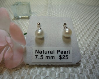 Natural White Pearl Drop Earrings in Sterling Silver  #1167
