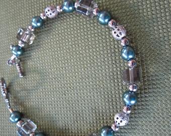 Smokey Colored Glass Beads and Gunmetal Beaded Bracelet