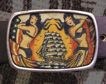 Vintage Ship Tattoo Belt Buckle, Vintage Inspired 570 Gift for Him or Her Husband Wife  Gift Groomsmen Wedding