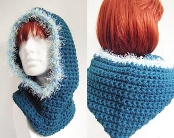 Teal Crochet Hooded Cowl Neckwarmer Snood