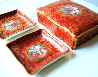 Victorian style vintage 50s coral, hand painted porcelain set: trinket, jewerly box with two  trinket dishes/ashtray.Made by M&R in USA.