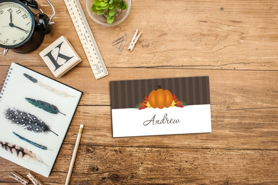 PRINTABLE Pumpkin Thanksgiving Personalizable Place Card Template