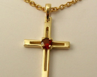 Genuine SOLID 9K 9ct Yellow GOLD Unisex January Birthstone birthday Garnet Cross Pendant