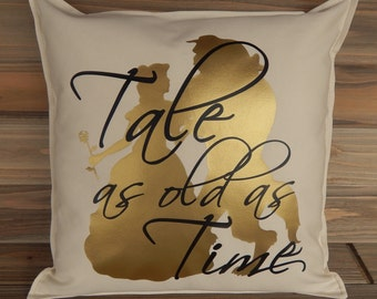 Beauty And The Beast Inspired Pillow Cover 16 X 16, Disney Pillow, Belle  Pillow