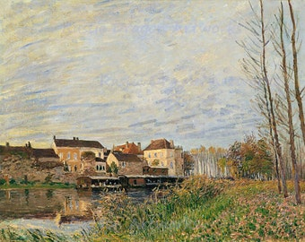 "Alfred Sisley ""One Evening in Late October in Moret"" 1888 Reproduction Digital Print Landscape  France Countryside"