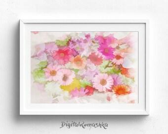 flower art print, flower print, abstract flowers, watercolor flowers painting, flowers painting, flower wall art, watercolor flowers art